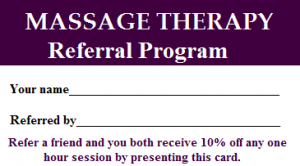 massage referral program