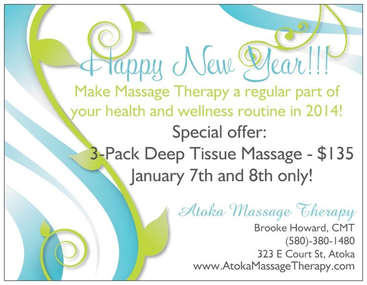 Happy New Year Massage Package Special | Atoka Massage Therapy